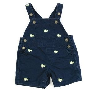 Janie and Jack Baby Frog Shorts Overalls Sz 0-3 Mo